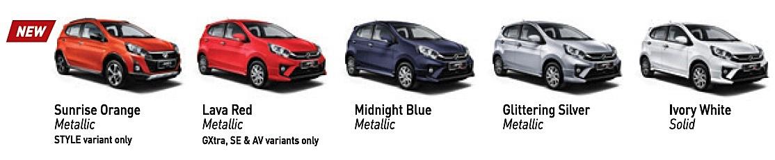 2019 Perodua Axia colours
