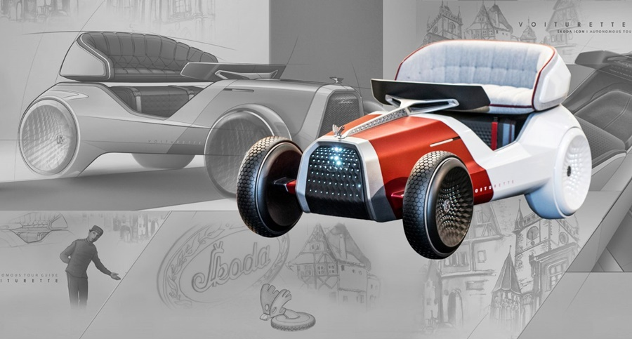 """What began as a young designer's vision of the car of the future has been transformed into a real model called the eVOITURETTE. The vision was created as part of Skoda Storyboard's Icons Get a Makeover series and is the work of Yuhan Zhang, a member of the interior design team at Skoda. Zhang was inspired by the Czech brand's first-ever production car, the Voiturette A produced by Laurin & Klement (Skoda Auto's original name) in 1905. It was her aim to create a modern take on one of the legends in the carmaker's history, fusing traditional design in a futuristic carriage. The idea to convert the VOITURETTE A into such an unusual vehicle came to Zhang fairly quickly - around 20 hours of work to convert the idea into a sketch. """"I started with a pencil on tracing paper – the first thing I worked on was the exterior. I scanned the sketch into the computer and carried on from there,"""" she explained, adding that the initial outline makes up around 20% of the development of this kind of sketch, and is the most important part. After the exterior, she used the same process on the car's interior, consulting design chief Oliver Stefani. As this was a vision of a car of the future without a strict brief, his comments were minor. """"He told me to get rid of some details that resemble solutions we were still working on for our mass-produced cars,"""" Zhang recalled. It was this freedom she had when creating her vision of a futuristic car that was a nice change for her. """"A lot of our work is secret and has a very clear brief. Our day-to-day work doesn't leave much time for projects that show off our vision and talent. But this time, there was a surprising amount of freedom,"""" said Zhang, who is originally from China and joined the company in 2015. It took 400 difficult hours of work to produce a full-sized model of the eVOITURETTE. """"Due to the model's delicacy but intended long-term use as an exhibit in a museum, emphasis was placed on high-quality workmanship,"""" says Vlastimil Pazout, th"""